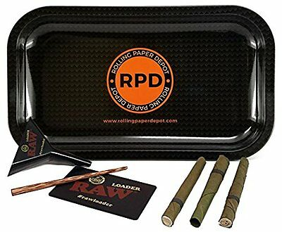 Rolling Paper Depot Rolling Tray (Carbon), RAW Lean Loader Cone Filler & MORE