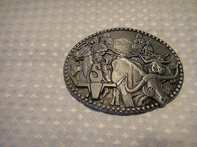 Vintage Western Belt Buckle Cowboys Longhorn Cattle Drive Zee Series ADM