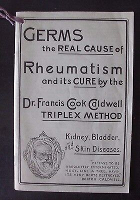 Antique 1908 Medical Booklet - Germs Rheumatism Cure Method - Dr. Caldwell