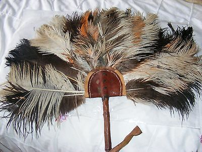 Vintage large African ostrich feather fan orange brown feathers hand made