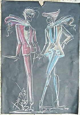 Theodoros Pantos Greek Artist Listed Colored Pencil Drawing On Paper Signed 1995