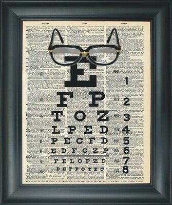 Art Print - Funky Eyglasses w/Exam Chart >Old Dictionary Paper Stock w/Fresh InK