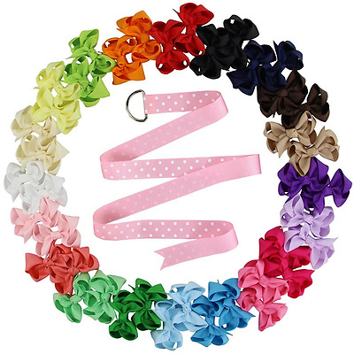 """QtGirl Small Hair Bows 24-40 Pcs 2.5""""-4"""" Pigtail Baby Hair Clips in Pairs with H"""