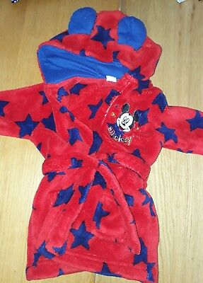baby boys mickey dressing gown 3-6 months