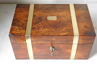 Fine Victorian  Rosewood Jewellery Box Bramah Lock & Key. Edwards Manufacturer