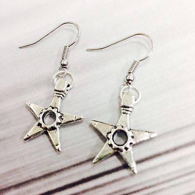 Vintage Antique Silver Tone Star Pendant Earrings Dangle Pair Gift for HER
