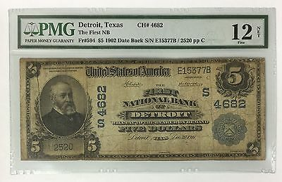 1902 $5 First NB DETROIT TEXAS !!! PMG FINE F 12 DATE BACK !!! CH#4682 ~ FR#594