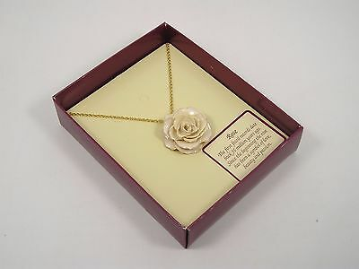 Real White Rose Pendant and 24k Gold Chain (Free Anniversary Gift Box)
