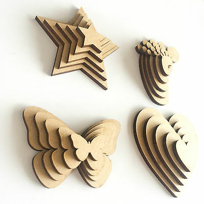 Wooden MDF Shapes Hearts Stars Butterfly Tree Craft Embellishments Decoration