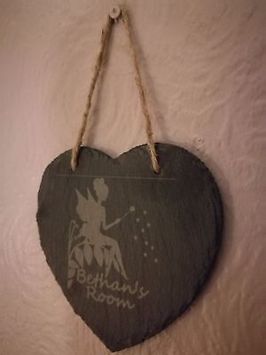 Fairy Design Personalised Slate Hanging Heart Plaque