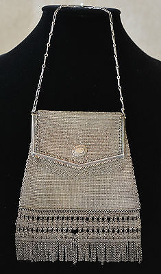 Antique 1920s Whiting and Davis Mesh Bag Princess Mary Silver Metal Fringe Purse