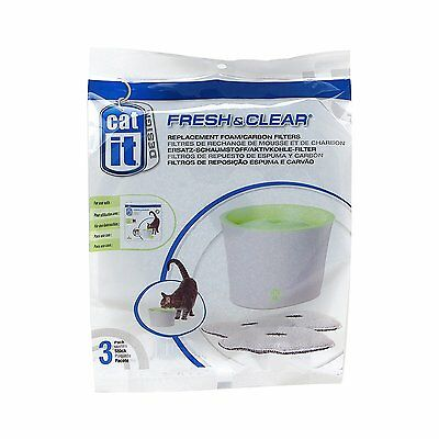 Catit Fresh & Clear Replacement Carbon Foam Cat Drinking Fountain Filters 3 Pack