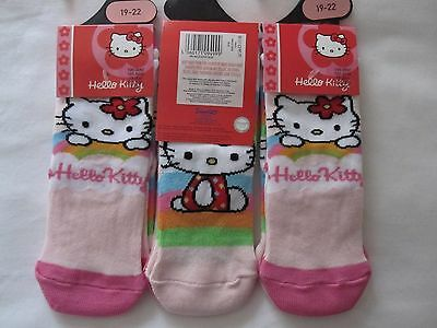 "Bnwt - 6 Pairs ""Hello Kitty"" Pink And Multi Trainer Character Socks - Size 19-22"
