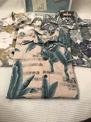 Floral Print Hawaii Short Sleeve Shirts Lot Size L Point Zero Cooke St Campia