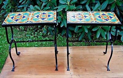 Antique Matching Pair of California Tile Top Tables with Hand Wrought Iron Bases