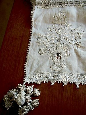 Antique Runner Embroidered Handmade Italian Table Panel Cover Arts and Crafts