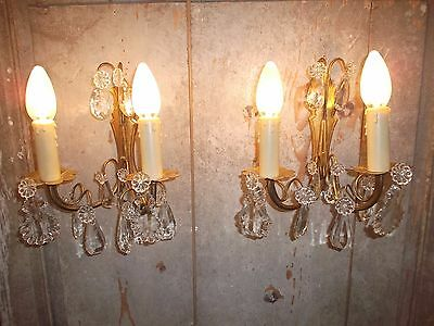 French a pair of exquisite antique  wall light bronze brass crystals droplets