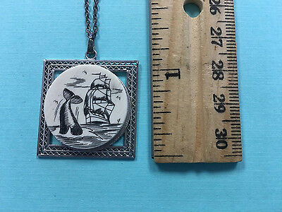 Scrimshaw Sea-faring Schooner Whale Sterling Pendant with chain - variation 1