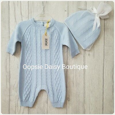 Gorgeous Zip Zap Baby Boys Spanish Style Cable Knitted Romper With Hat ☆