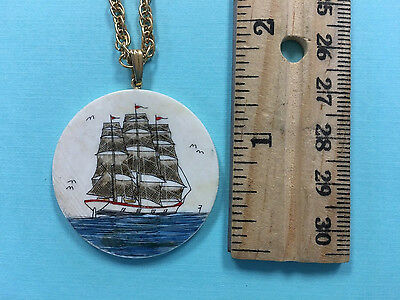 "Scrimshaw Schooner Galleon ""in color""  Large Round Pendant with chain"