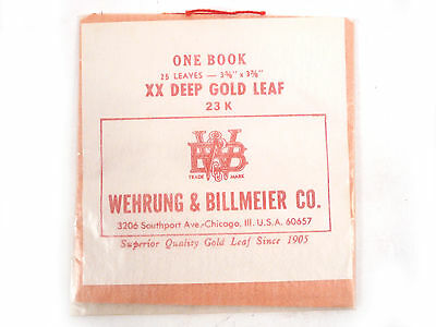 Genuine 23K Wehrung & Billmeier XX Deep Gold Leaf 1 book - 25 Loose Leaf Sheets