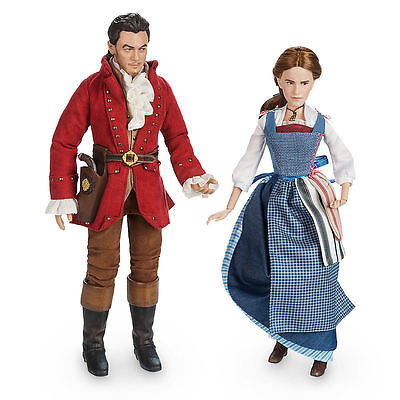Disney Beauty and the Beast Live Action Film Belle and Gaston Doll Set NEW