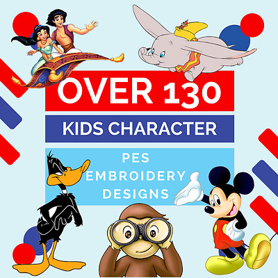 OVER 100 kids character Collection Embroidery designs PES FORMAT - BARGAIN PRICE