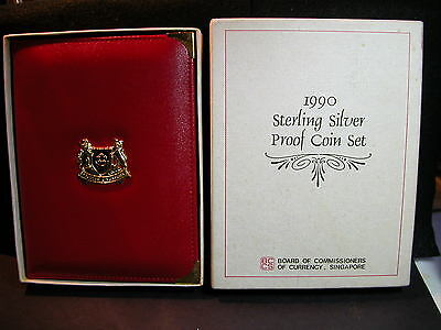 S-96:Singapore 1990 Sterling silver PROOF Set,c/w Certs, No 02142 in white box