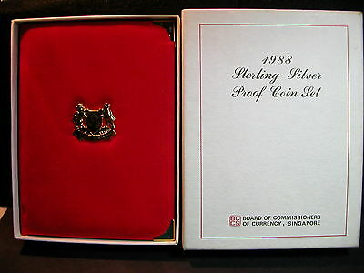 S-95:Singapore 1988 Sterling silver PROOF Set,c/w Certs, No 10009 in white box