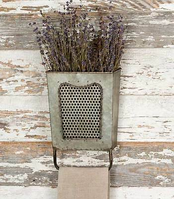 Rustic Vintage Metal Decorative Dalton Wall Box with Towel Bar Hanger Holder