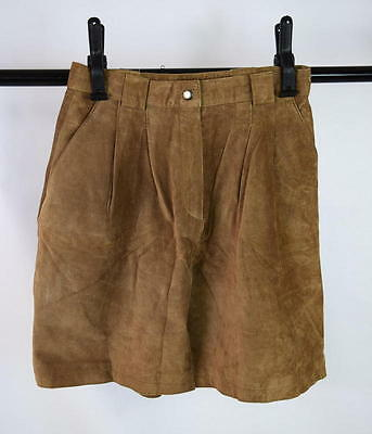 """Vintage 90s Tan Brown Soft Luxe Suede Leather Pleated Long Shorts 26"""" High Waist"""