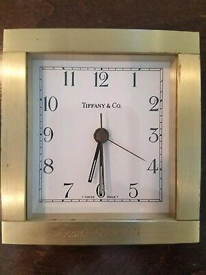 TIFFANY & CO Brass Desk Clock Vintage Square Alarm Swiss Made Paperweight Mantle