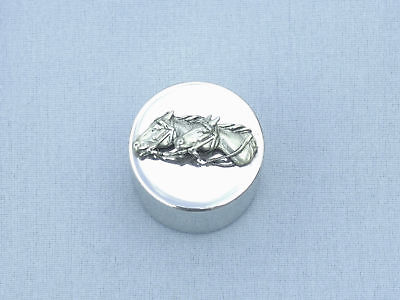 Small Metal Trinket Box STAMP DISPENSER Thoroughbred HORSES Racing