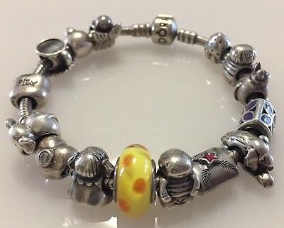 Pandora Sterling Silver ALE 925 Bracelet 19cm Full with ALE 925 Pandora Charms