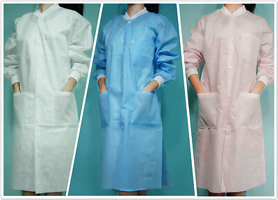 10 Knee Length Unisex SMS Three-Layer Disposable Lab Coats Gowns Dental Medical