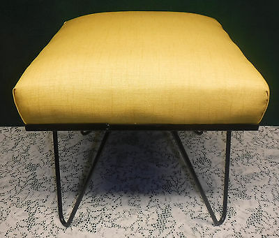 Vintage Mid Century Modern Hairpin Legs Stool Ottoman Recovered Golden Yellow