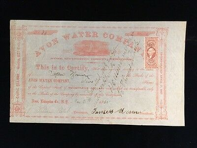 1865 Issued Stock Certificate Avon Water Co Livingston Co Ny W/affixed Revenue