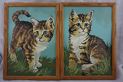 Vintage Pair Framed PAINT BY NUMBER Framed Cats Kittens