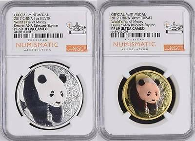 888 Minted Panda Pair! EXCLUSIVE 2017 ANA Releases Holder! Silver & Tri NGC PF69