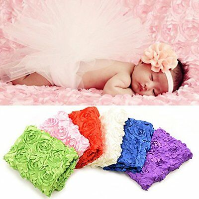 Pink Newborn Photography Props Rug Baby Photo 3D Rose Flower Backdrop Blanket US