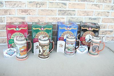 BUDWEISER Anheuser-Busch Founders Series Beer Steins Complete Set Collectors