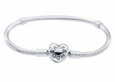 New Genuine S/Silver Pandora Heart Clasp Moments Charm Bracelet 590719 - RRP £55
