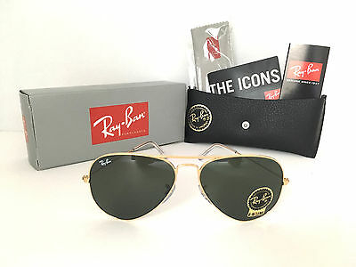 1a041fcb1d BAND-NEW RAY BAN Aviator RB3026 L2846 62mm Green G-15 Lens and Gold ...
