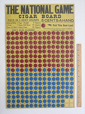 1900s National Game - CIGAR BOARD 5 cts - Gambling Playing Cards, Pre PunchBoard
