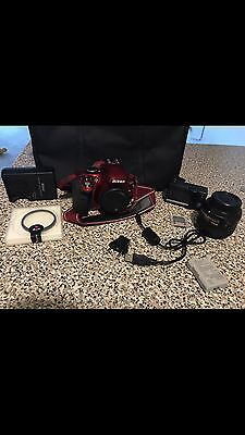 Nikon D D3300 24.2MP Digital SLR Camera - Red Bundle