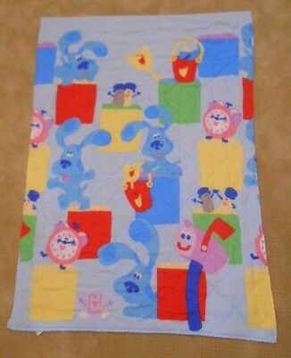 VINTAGE BLUES CLUES Quilted Crib Baby Toddler Comforter Tickety-Tock Clock