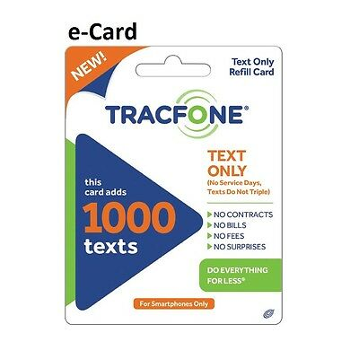 TracFone (Text Only) e-Card PIN # Number - 1,000 texts