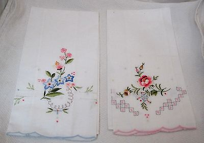 Pair of 100% Cotton Linen Hand Towels w Floral Embriodery Work Pink & Blue T22