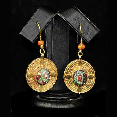 Roman-Egyptian Glass set in modern 15ct gold as earrings y229
