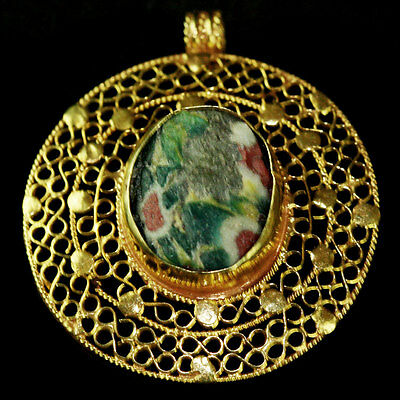 Roman-Egyptian Glass set in modern 15ct gold as pendant. y225